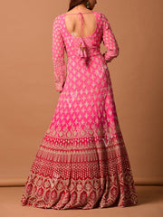 Pink Ombre Embroidered Suit Set