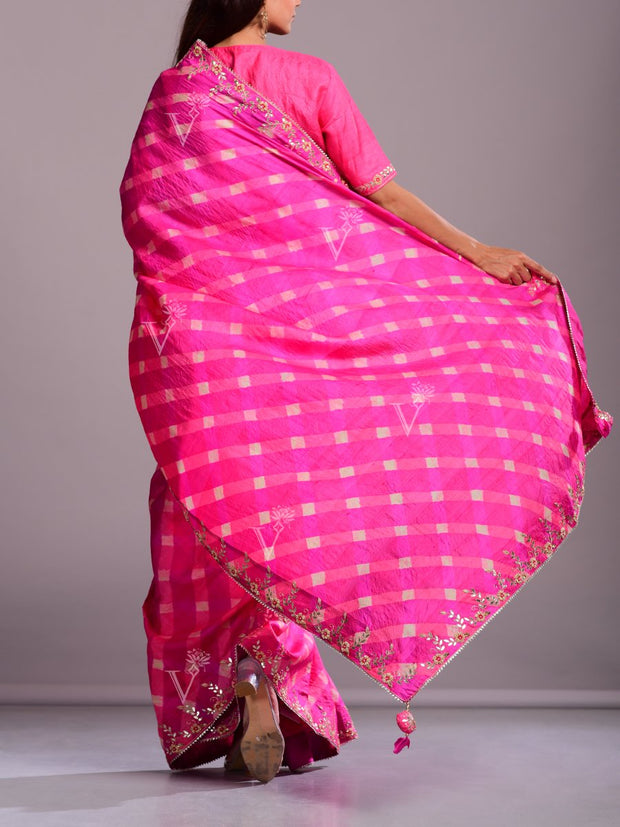 Hot Pink Silk Leheriya Gota Patti Saree