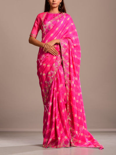 Saree, Sarees, Tussar silk, Silk, Leheriya, Jaipuri, Rajasthani, Party wear, Festive wear, Traditional outfit, Traditional wear, Gota patti