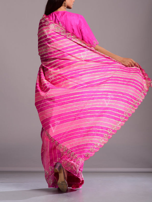Light Pink And Peach Silk Leheriya Gota Patti Saree