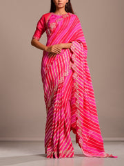 Pink And Coral Silk Leheriya Gota Patti Scalloping Saree
