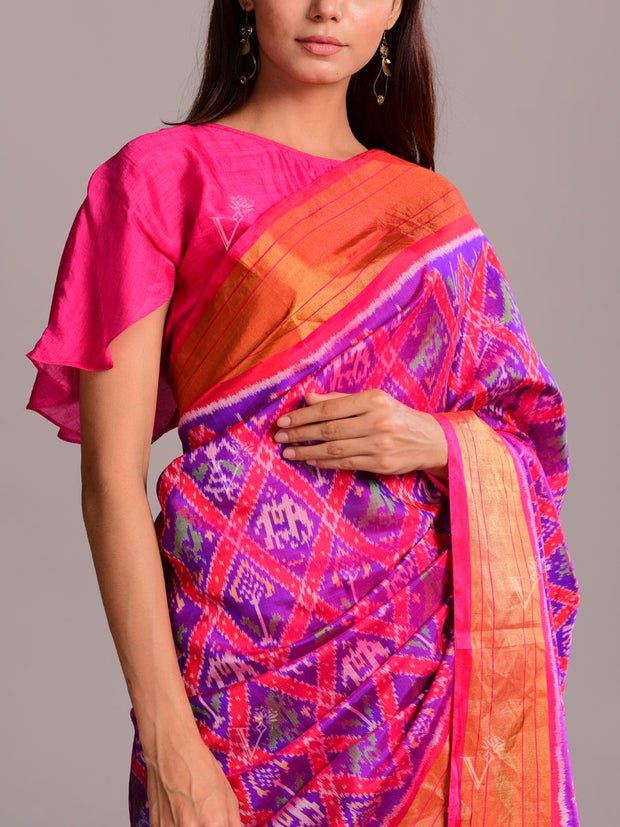 Pinkish Purple Silk Patola Saree