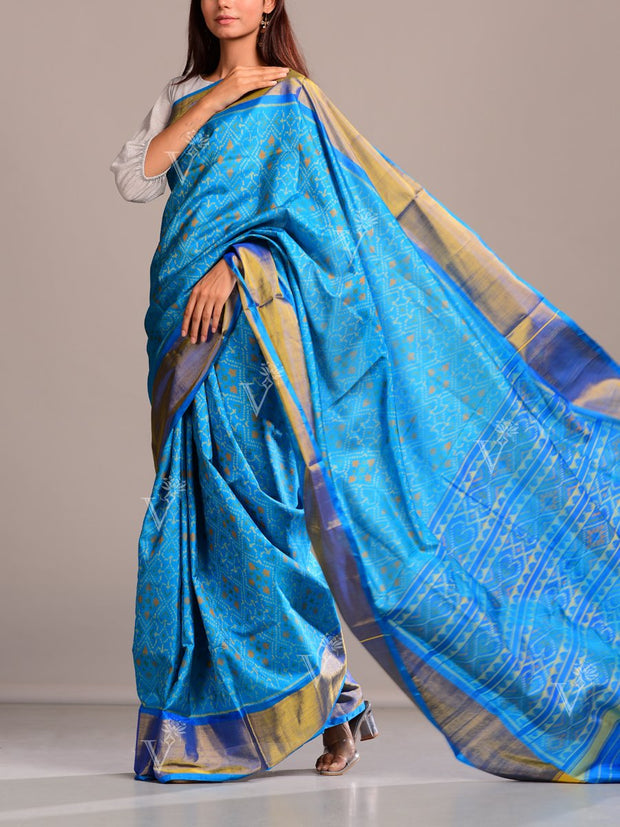 Light Blue Silk Patola Saree