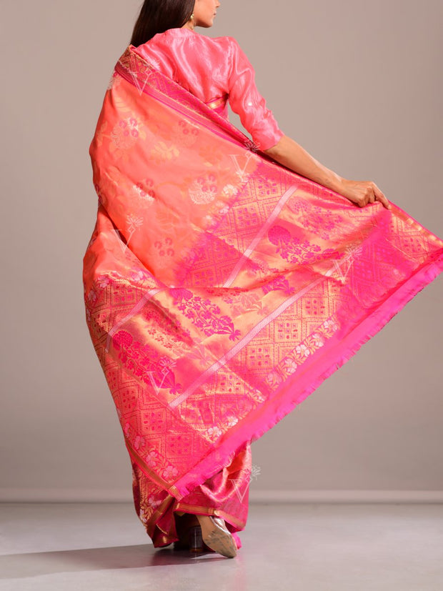 Peach Silk Patola Saree