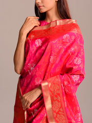 Fuschia Pink Silk Saree