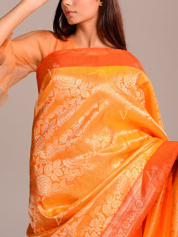 Gold Yellow Silk Handloom Saree