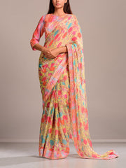 Powder Yellow Floral Printed Crepe Saree
