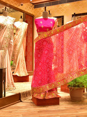 Pink Georgette Bandhani Saree-In Store