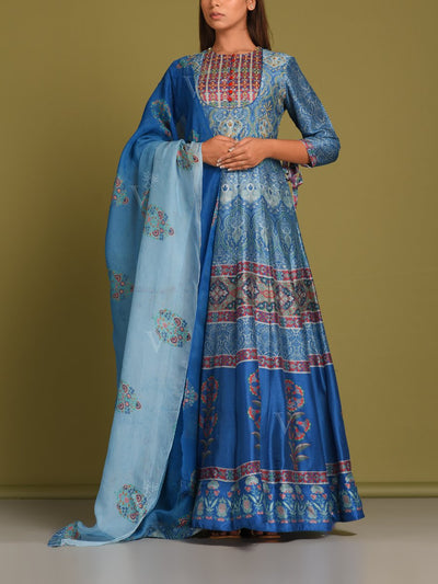 Steel Blue Vasansi Silk Anarkali Gown