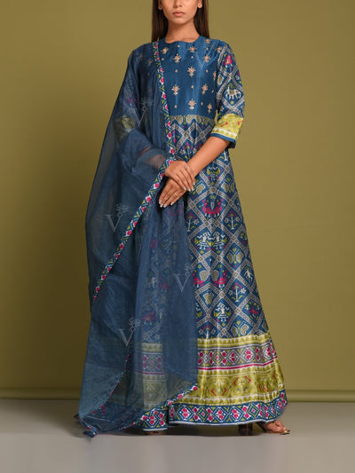 Berry Blue Vasansi Silk Patola Anarkali Gown