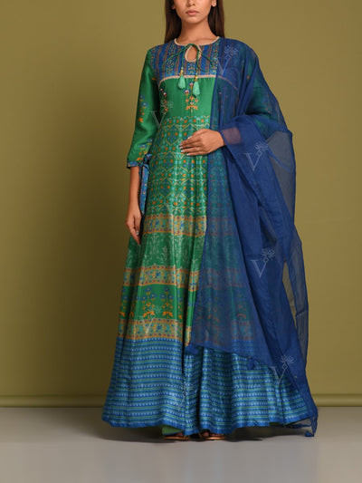 Green Vasansi Silk Printed Anarkali Gown