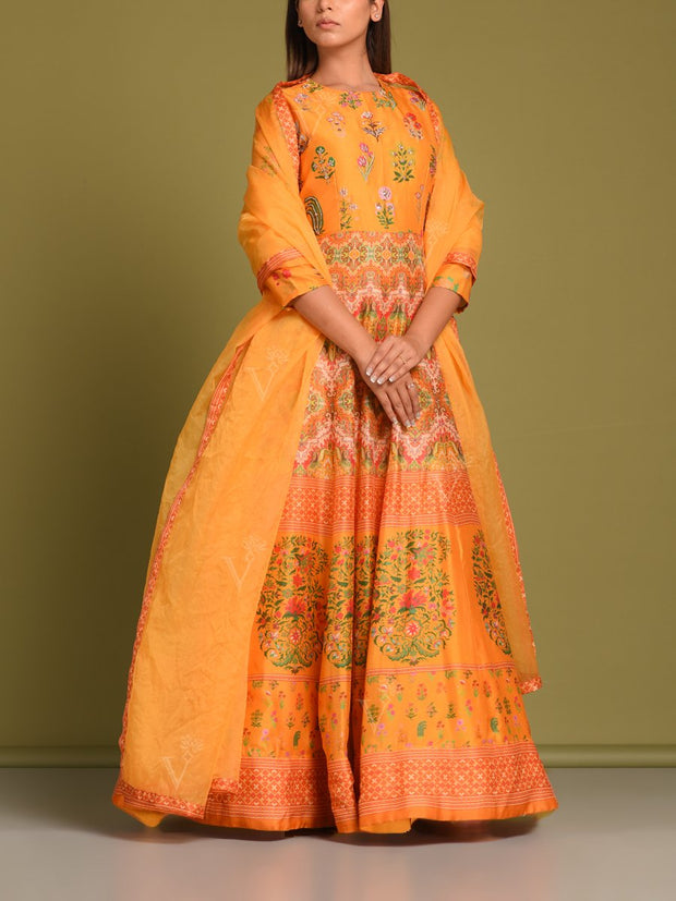 Yellow Vasansi Silk Printed Anarkali Gown