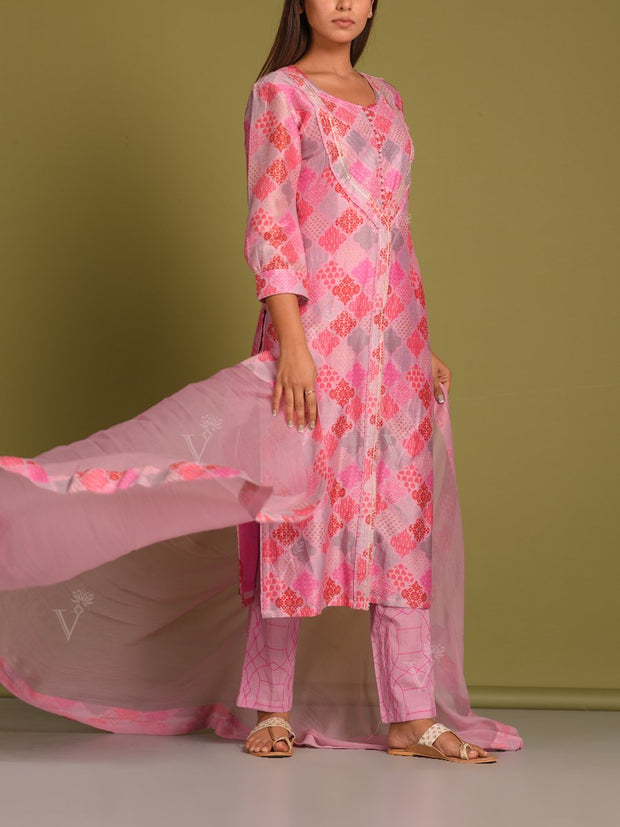 Pink Geometrical Printed Suit Set