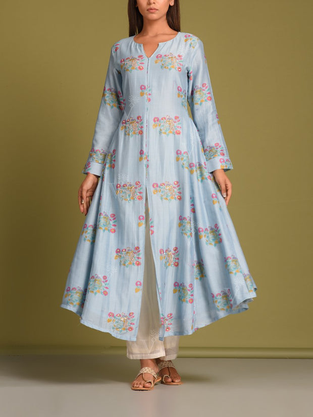 Powder Blue Printed Kurti