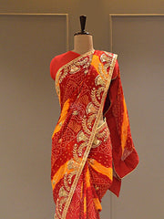 Red And Yellow Bandhani Saree