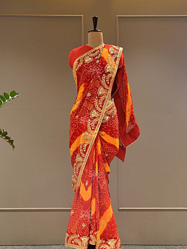 Sarees, Saree, Bandhani, Bandhej, Traditional wear, Gotta patti saree, Gotta patti, Jaipuri saree