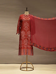 Maroon Silk Semi Stich Suit Set