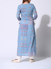 Baby Blue Cotton Printed Kurti
