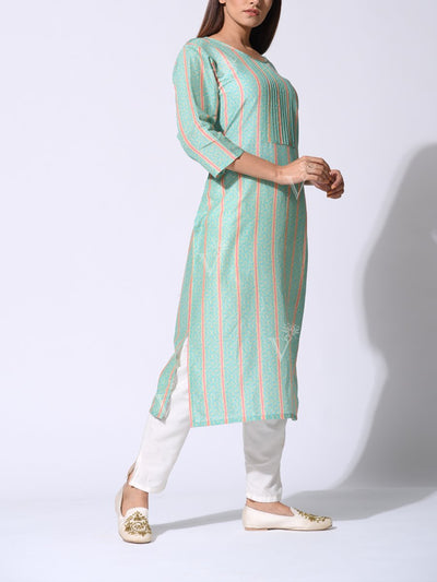 Sea Green Striped Printed Kurti
