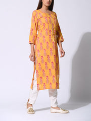 Mango Yellow Floral Botti Printed Cotton Kurti