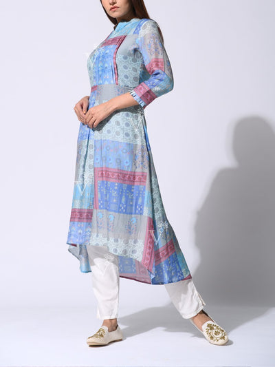 Blue And Grey Silk Printed High Low Kurti