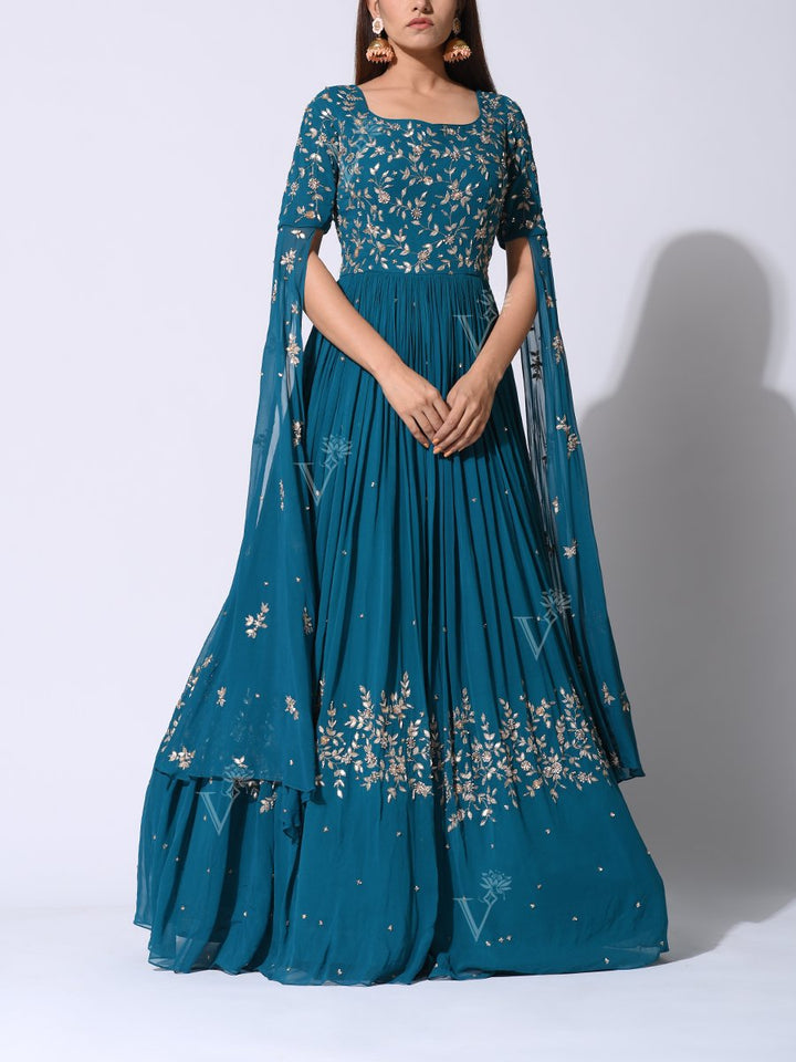 Anarkali suits Online:Green Georgette Anarkali Suit with Stylish Sleeves & Gota Patti