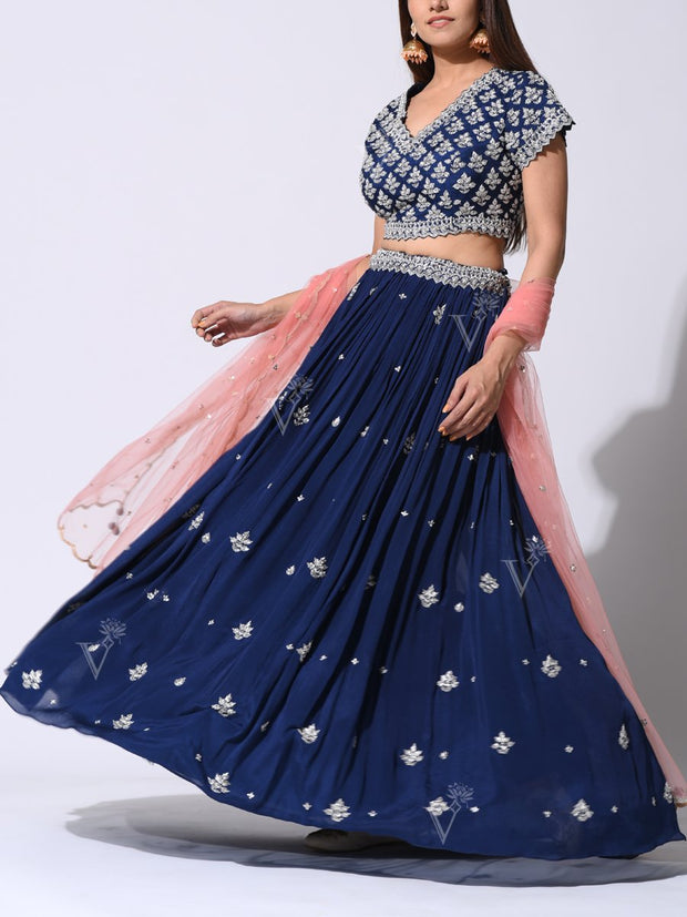 Mid Night Blue Crepe Lehenga With Embellished Silk Blouse