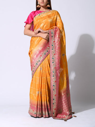 Saree, Sarees, Embroidered, Embellished, Traditional, Traditional wear, Party wear, Heavy, Festive wear, Banarasi Silk, Contrast, Silk