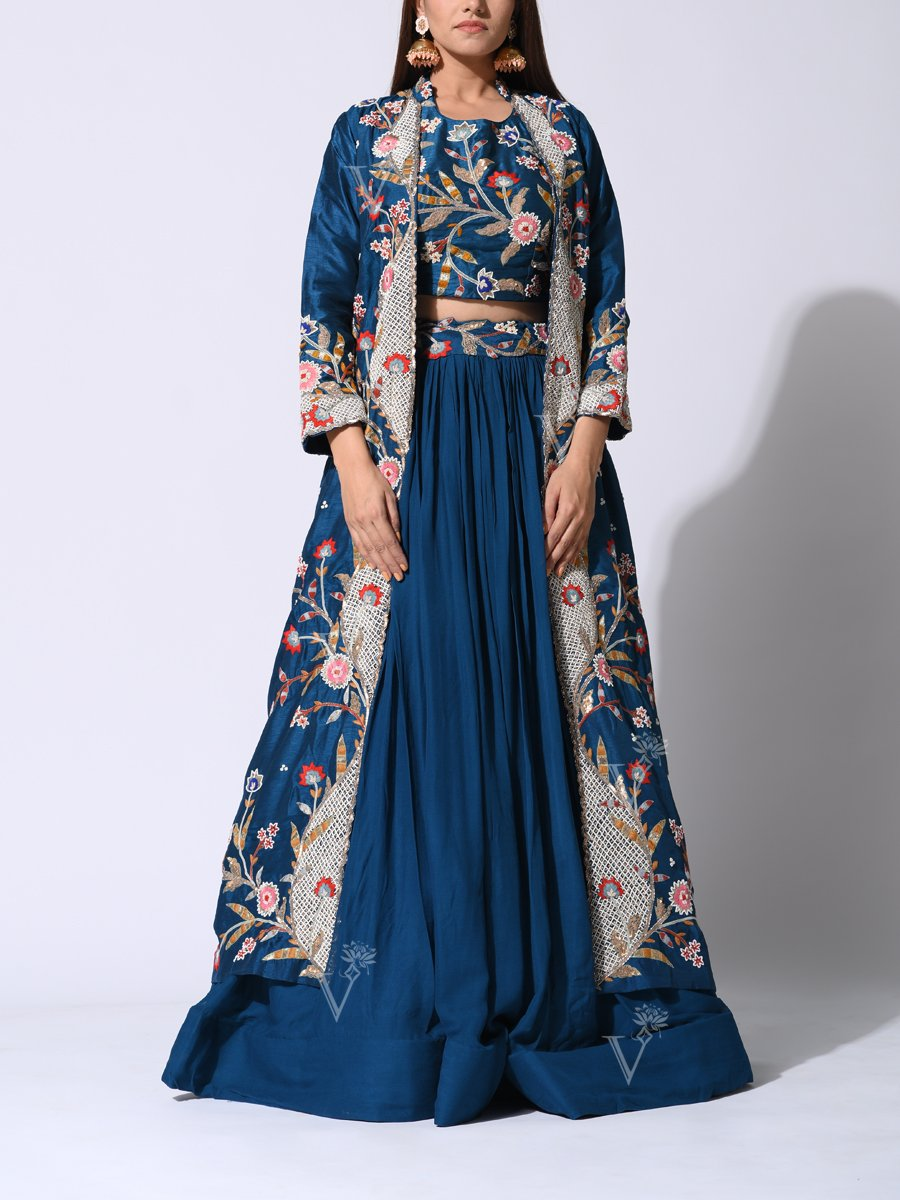 Cobalt Blue Lehenga with Long Embroidered Jacket