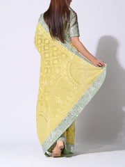 Lemon Yellow Luckhnowi Chikankari Saree With Embellished Blouse