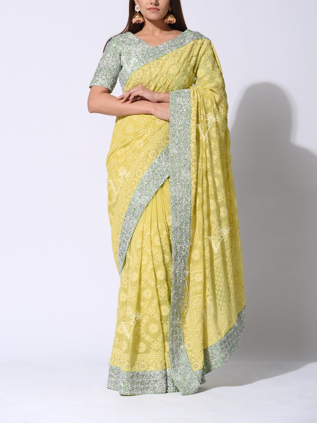 Saree, Sarees, Embroidered, Embellished, Traditional, Traditional wear, Party wear, Heavy, Lucknowi, Chikankari, Pastel