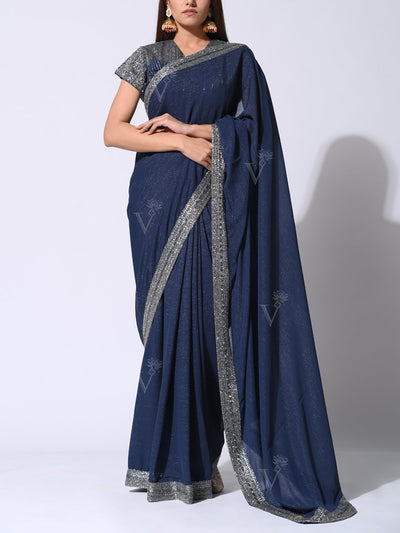 Saree, Sarees, Embroidered, Embellished, Traditional, Traditional wear, Party wear, Heavy, Shimmer Georgette, Georgette