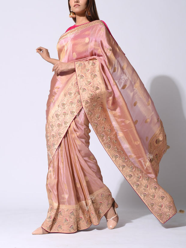 Pink Embroidered Tissue Banarasi Saree