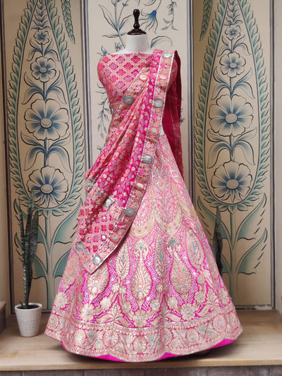 Pink Shaded Pure Georgette Realzari Lehenga