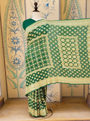 Bottle Green Zari Bandhani Georgette Saree