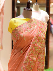 Peach Handcrafted Gota Patti Dola Silk Saree
