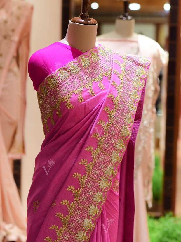 Pink Dola Silk Embroidered Saree