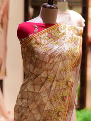 Beige Printed Gotta Patti Saree