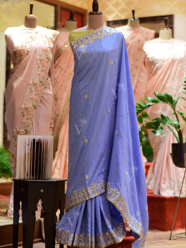 Blue Handcrafted Gota Patti Dola Silk Saree
