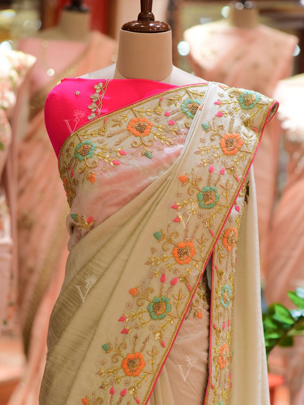 Mint Green Dola Silk Embroidered Saree