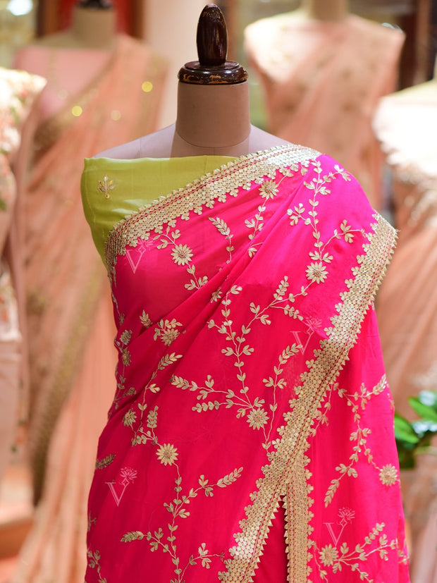 Rani Dola Silk Embroidered Saree