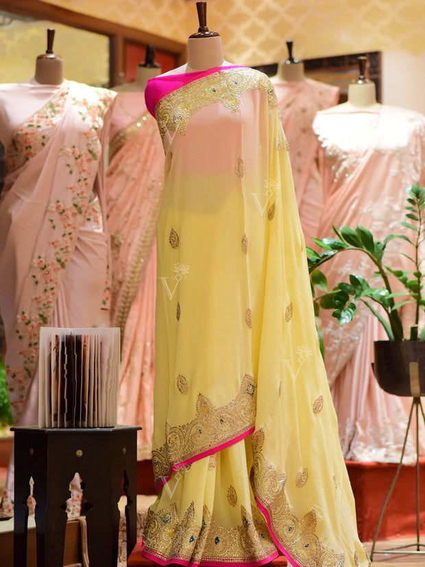 Yellow Gotta Patti Georgette Saree
