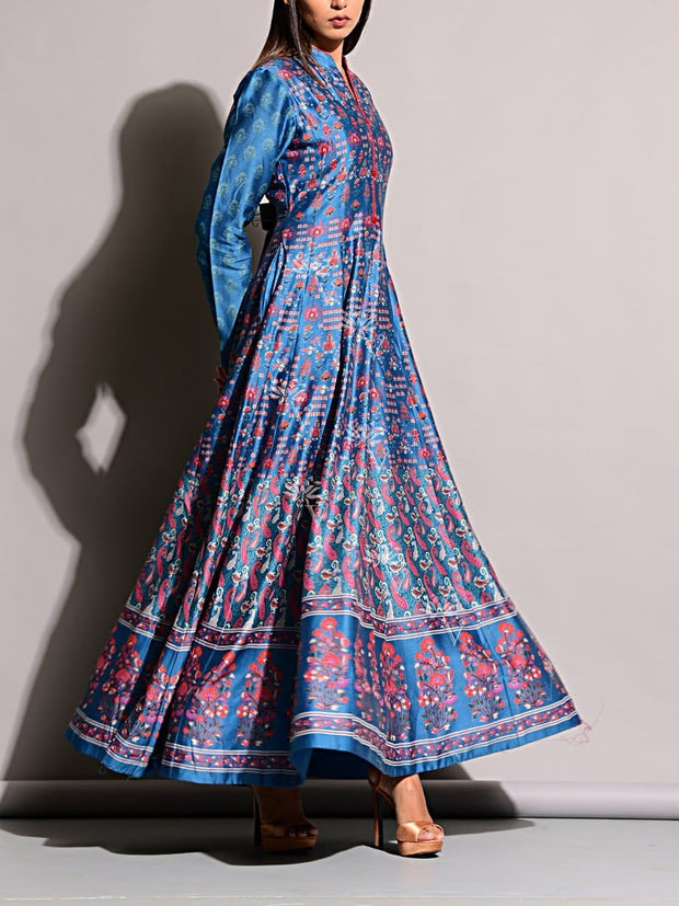 Blue Vasansi Silk Anarkali Gown
