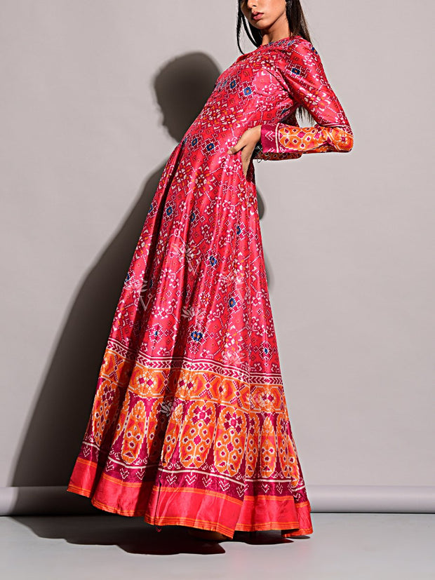 Silk, SALE, Printed, Long Dress, Gowns, Gown, Floor Length, Anarkalis, Anarkali