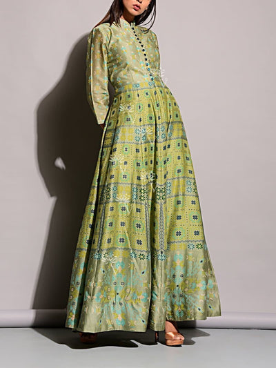 Anarkali, Anarkalis, Printed, Gown, Gowns, Long Dress, Floor Length, Silk