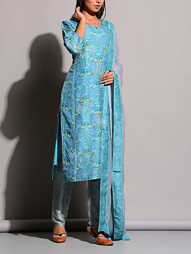 Suit , Suit Set, Regular Wear, Silk, Traditional Wear, Printed, Straight Suits