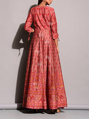 Crimson Red Vasansi Silk Anarkali Gown