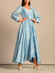 Cyan Blue Silk Summer Dress