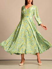 Mint Green Silk Summer Dress