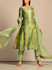Green Printed Silk Suit Set